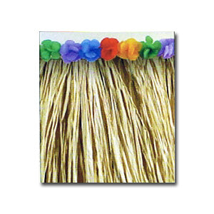 Natural Raffia Table Skirting with Flowers measures 9 feet by 28 inches