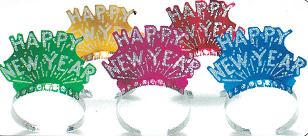 Assorted Colour Glittered Happy New Year Tiara, 1 per package