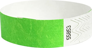 100 Neon Lime Tyvek Wristbands