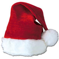 Velvet Santa hat with plush trim, one size fits most