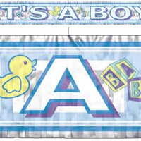 It's a boy metallic fringed banner