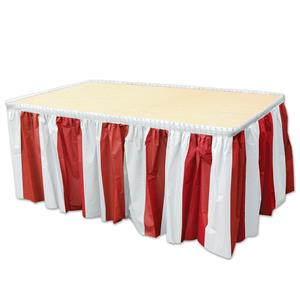 Red and White stripes plastic table skirt