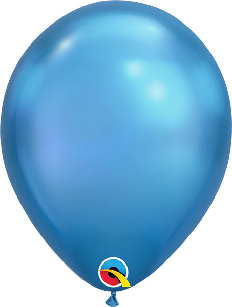 chrome blue 11 inch qualatex balloons, 10 count