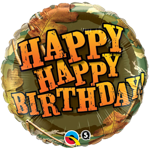 "Happy birthday camouflage 18"" foil balloon"