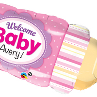 "Welcome Baby girl bottle 39"" foil balloon"