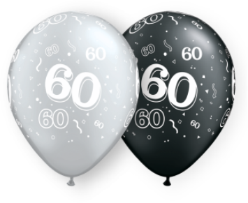 60th black and silver latex balloons