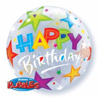 "Birthday and stars 22"" bubble balloon"