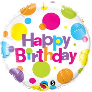 Birthday 18 inch foil balloon polka dots