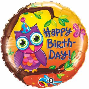 Owl Birthday mylar balloon