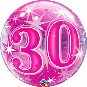 "30th Pink starburst 22"" Bubbles Balloon"