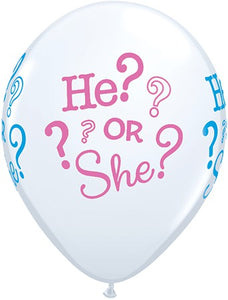 "He? or She? printed 11"" latex balloons"