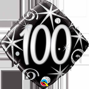 "100th diamond shape 18"" foil balloon"