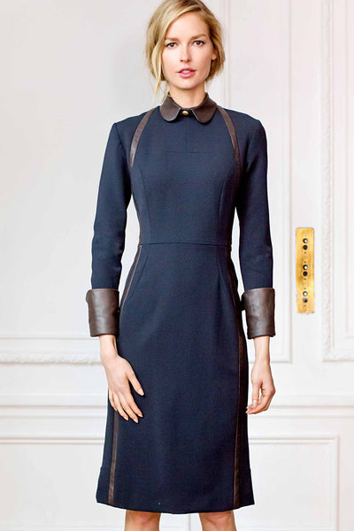 Jewel Neck Full Sleeve Fitted Sheath Dress with Leather Cuffs and Insert Detail