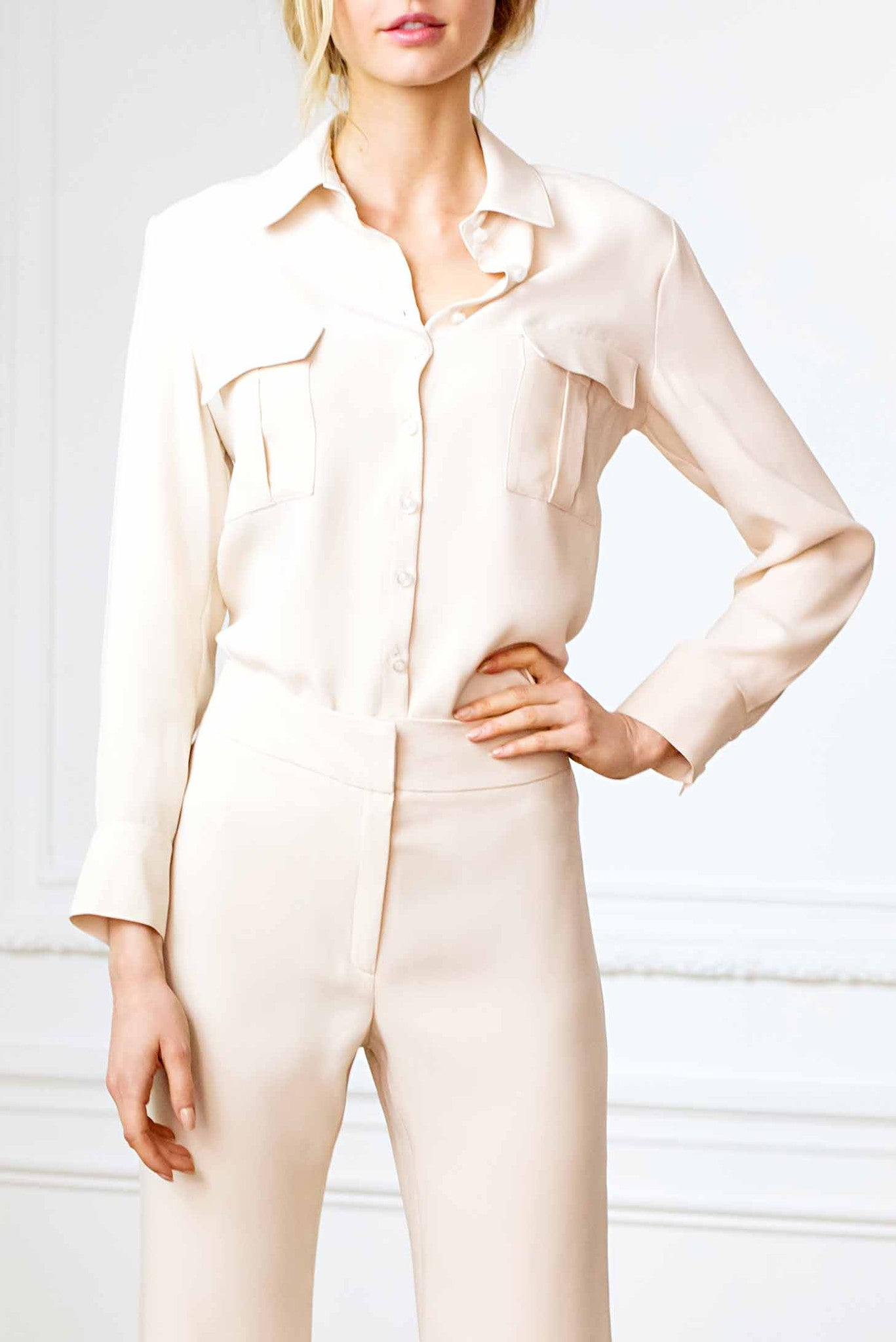 Double Pocket Blouse in Blush