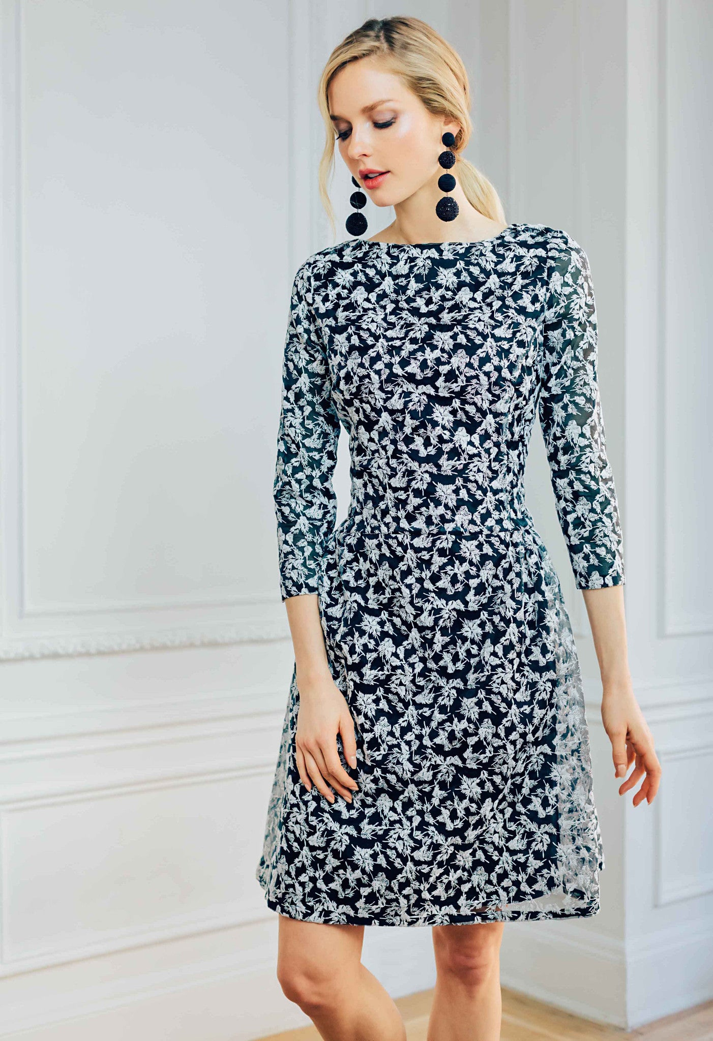Dropped Waist Dress with Bracelet Lenth Sleeve in Embroidered Silk Organza