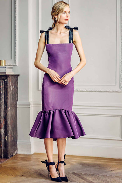 Tea Length Dress with Embroidered Strap and Bow Detail