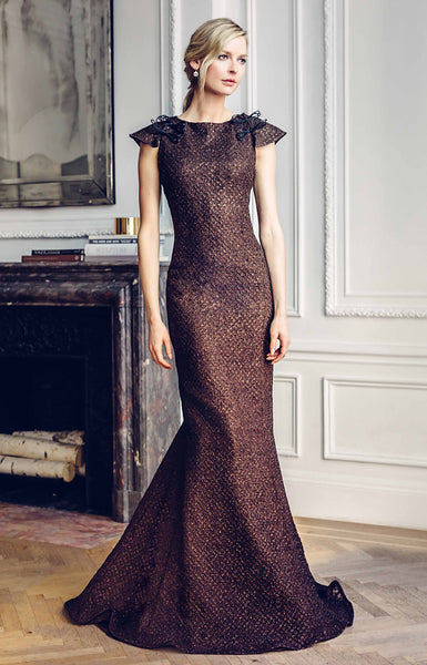 Bateau Neck Trumpet Evening Gown with Cap Sleeve Detail, Dark Brown Metallic Petit Starburst Embroidered Chiffon Lined in Layers of Silk Organza