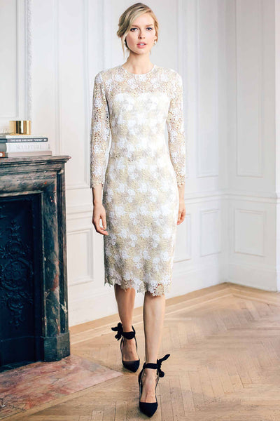 Jewel Neck Long Sleeve Dress with Strapless Underdress in Italian Guipure Lace