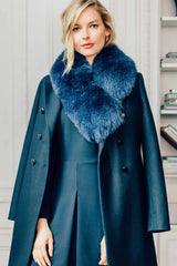 Navy Fox Collar Fur