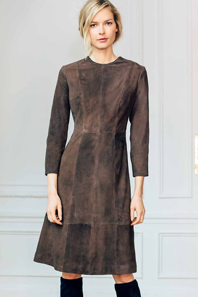 Jewel Neck Bracelet Length Sleeve A Line Dress in Suede