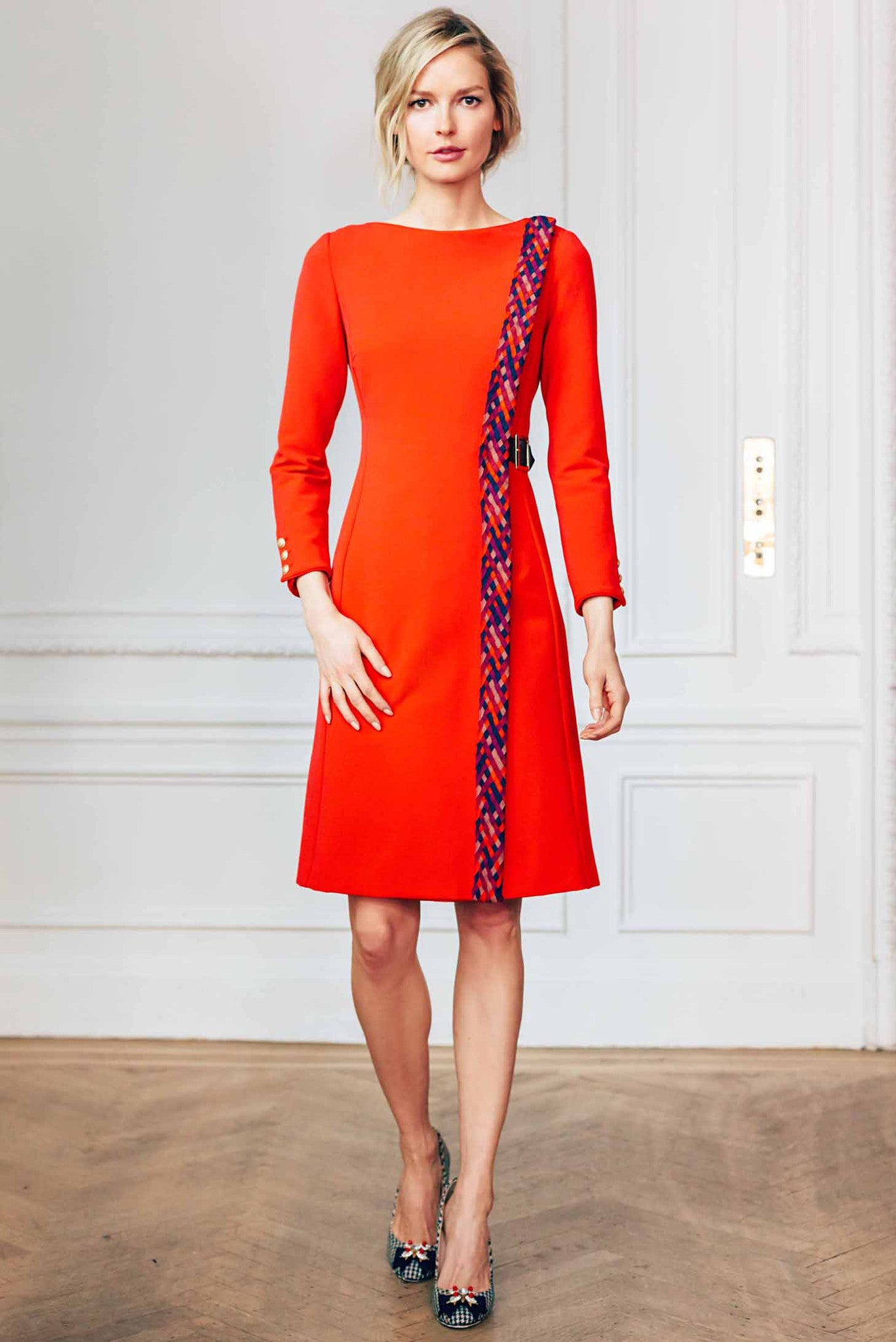 Bateau Neck Bracelet length Sleeve Dress With Woven Trim and Leather Side Buckle Closure