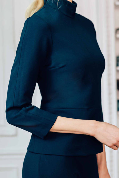 Tailored Turtleneck with Shoulder and Sleeve Insert Detail