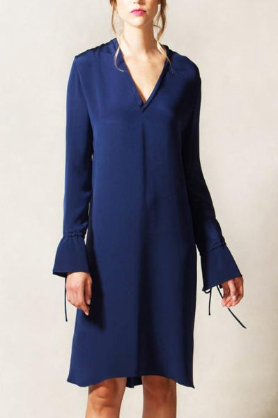 V Neck Shift Dress with Sleeve Tie