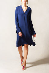 V Neck Shift Dress with Open Cuff Detail