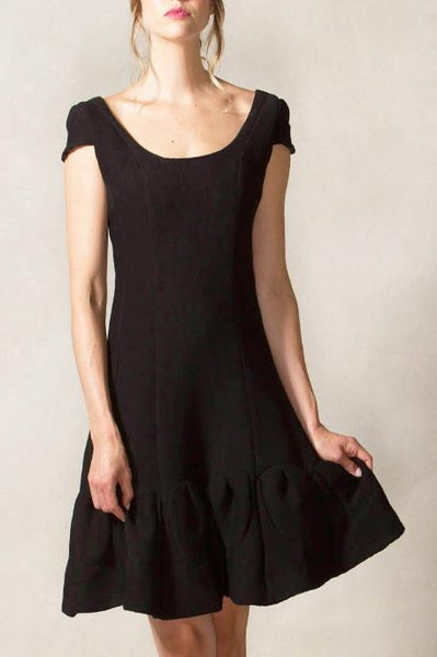 Multi Seam Scoop Neck Dress with Cap Sleeve