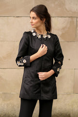 Swing Coat with Leather Flower Details