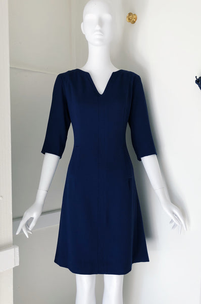 V Neck Insert Dress with Bracelet Length Sleeve