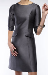 A Line Dress with Pockets and 3/4 Length Sleeve