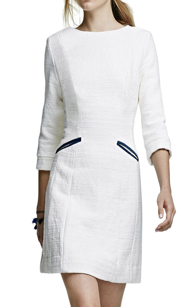 Slight A Line Dress with 3/4 Sleeve and Welt Pockets