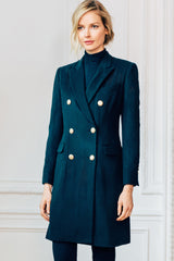 Double Breasted Knee Length Peak Lapel Coat