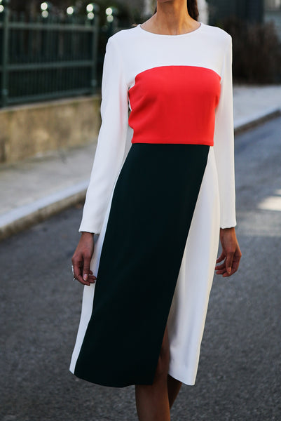 Color Blocked Asymmetrical Dress