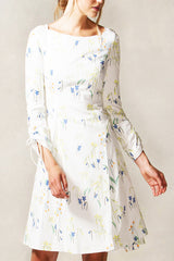 Bateau Neckline Layered A Line Dress with Tie Sleeve Detail