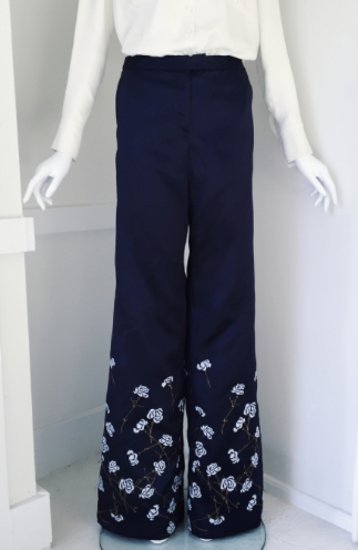 Bell Pant in Embroidered Twill