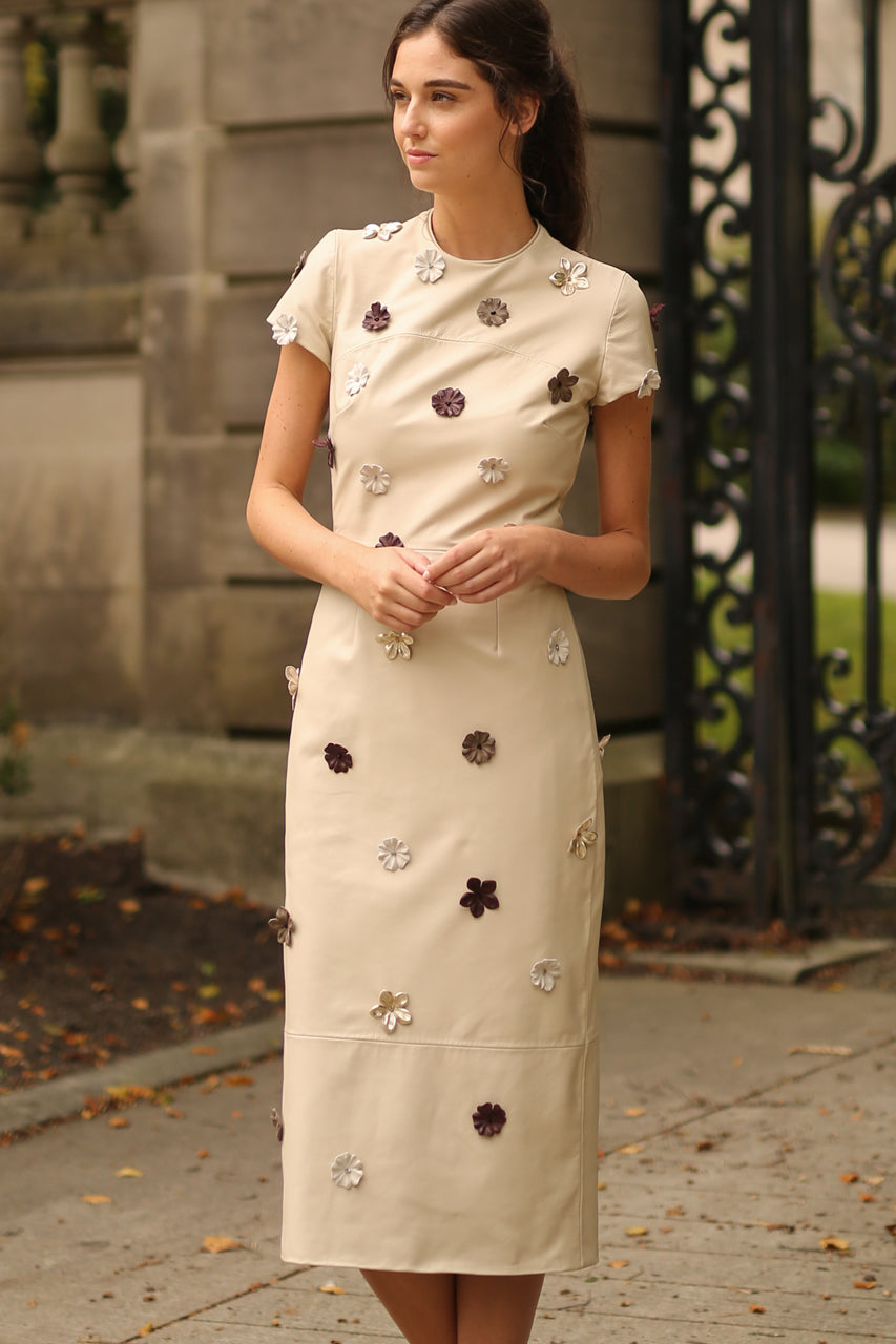 Tailored Sheath Dress with Leather Floral Applique