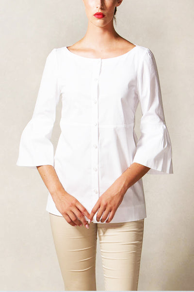Bateau Necline Button Down Blouse