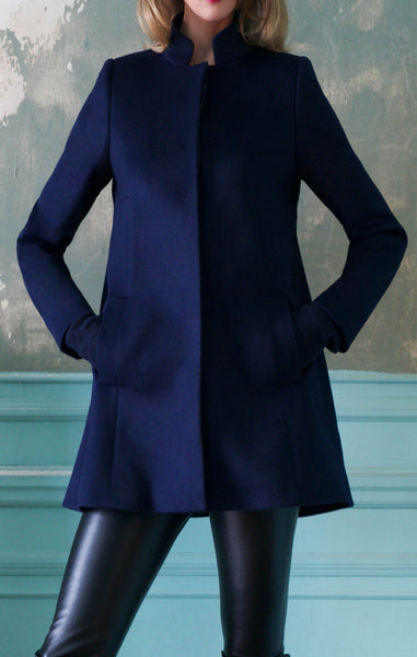Cashmere Swing Coat with Nehru Collar