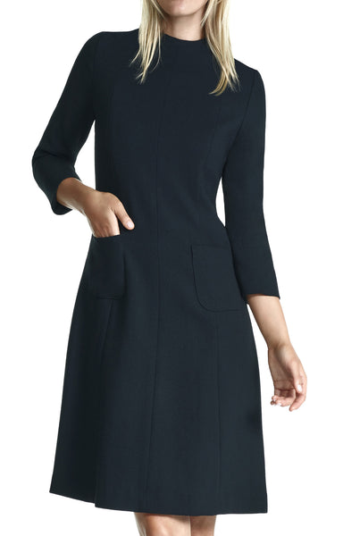 Demi Funnel Collar Day Dress with Pockets and 3/4 Length Sleeve