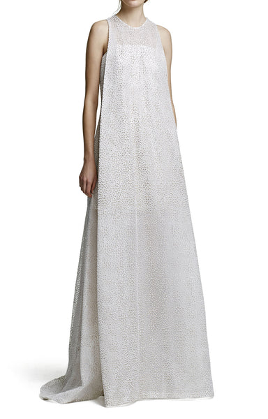 A Line Gown with Sheer Underlay
