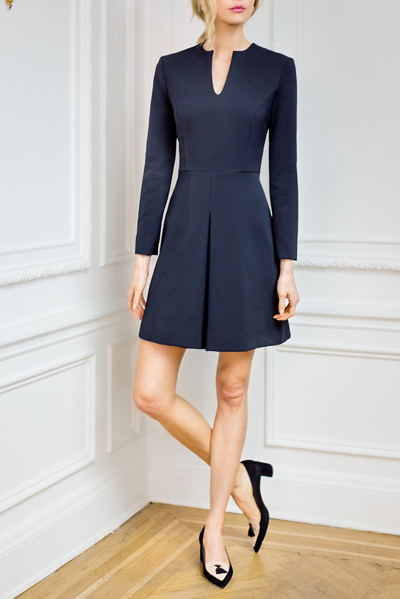 V Neck Dress with Inverse Pleat Skirt and Full Sleeve