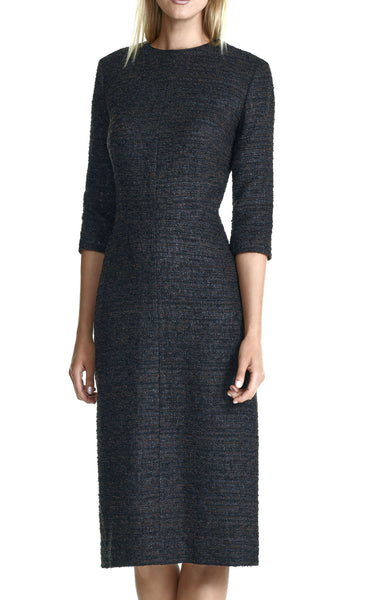 Boucle Tailored Dress with 3/4 Length Sleeve