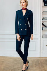 Double Breasted Peak Lapel Short Coat