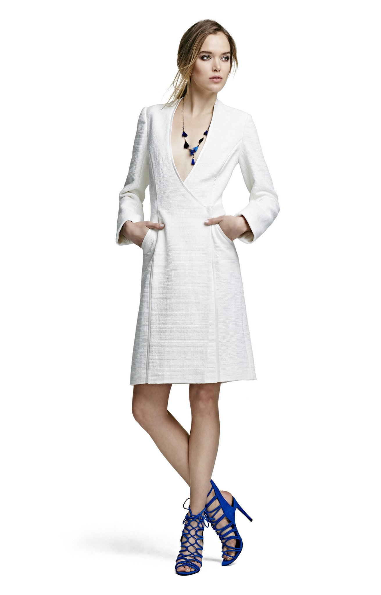 Coat Dress with Piping Detail
