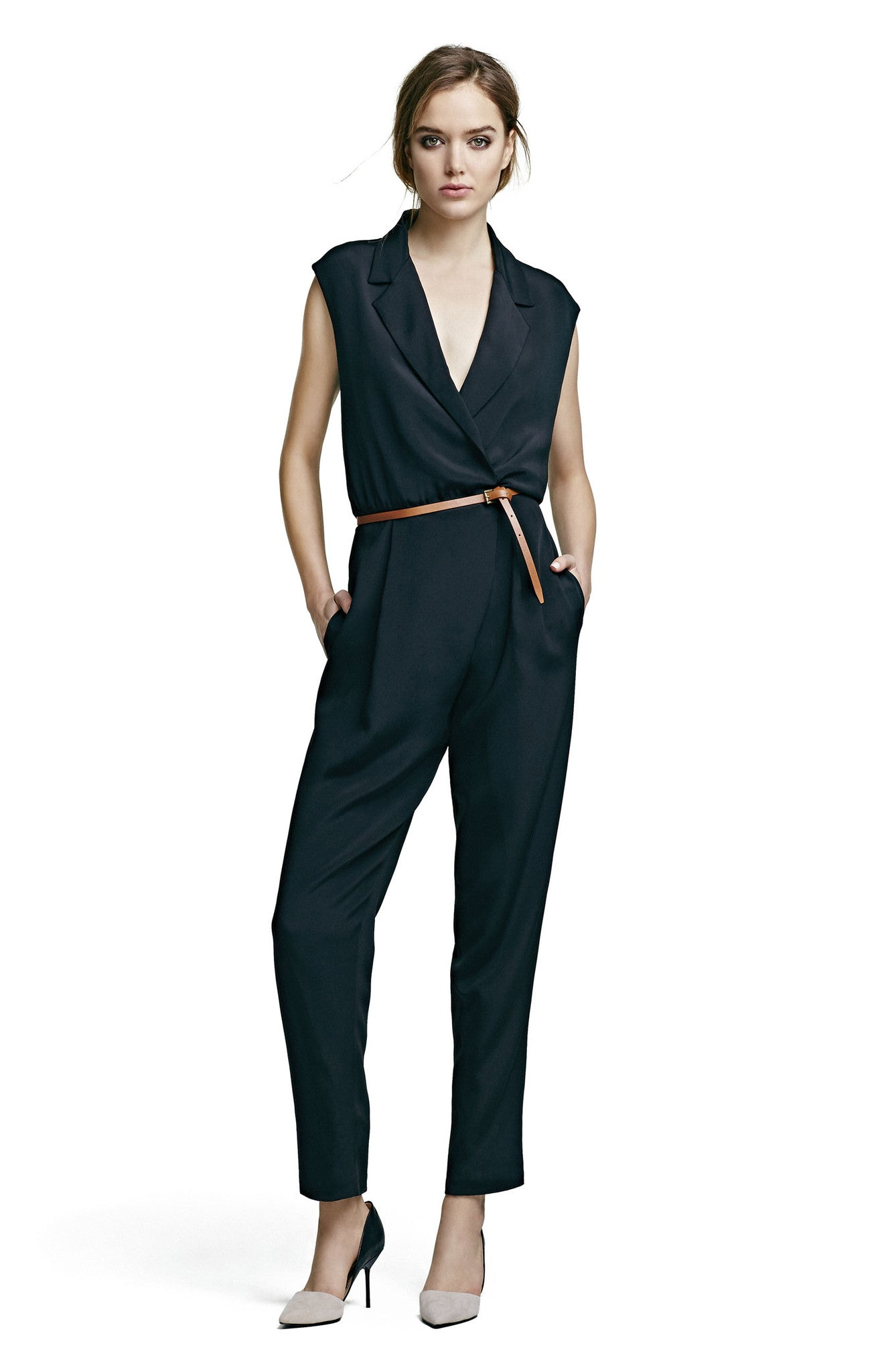 Jumpsuit with Peak Lapel