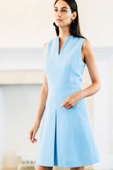 Sleeveless Inverted Pleat Dress with Narrow V Neck