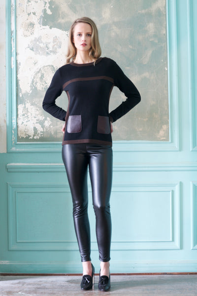 Two Tone Cashmere Sweater with Leather Hip Pocket Detail
