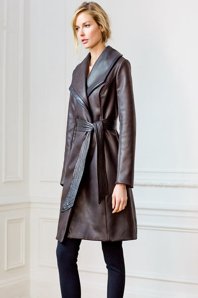 Trouve Leather Coat with Belt